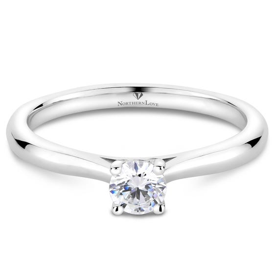 NORTHERN LOVE White Gold Solitaire Diamond Engagement Ring Total Carat Weight 0.25ct (EA3)