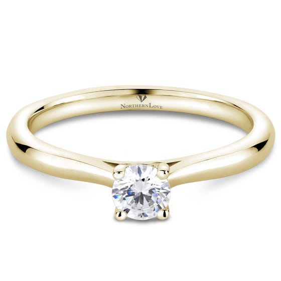 NORTHERN LOVE Yellow Gold Solitaire Diamond Engagement Ring Total Carat Weight 0.25ct (EA3)