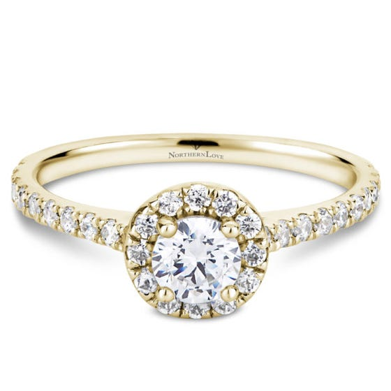 Northern Love Halo .70ct Yellow Gold Engage Ring (EA3)