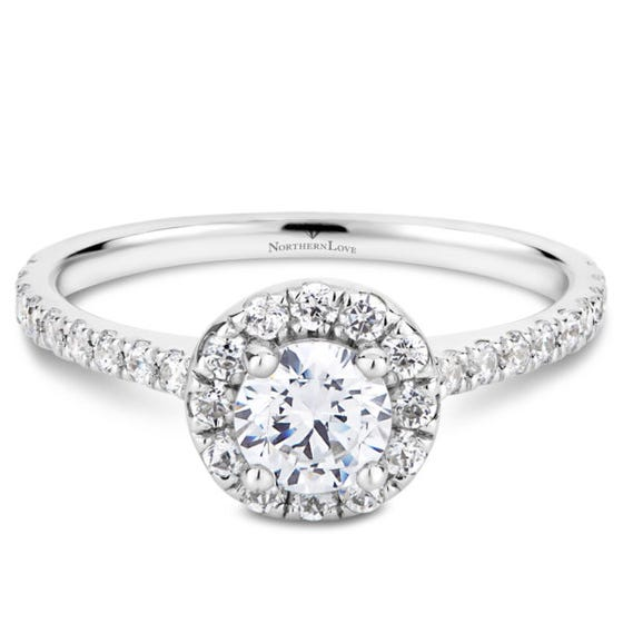 Northern Love White Gold 0.88 ct Halo Engage Ring (EA3)