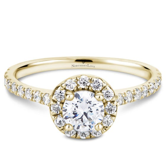 Northern Love Ylw Gld 0.88ct Halo Engage Ring (EA3)