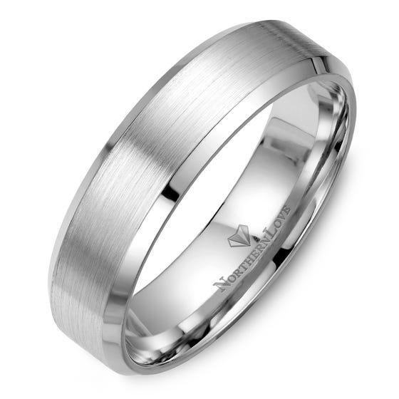 NORTHERN LOVE White Gold 6 mm Men's Wedding Ring (EA3)