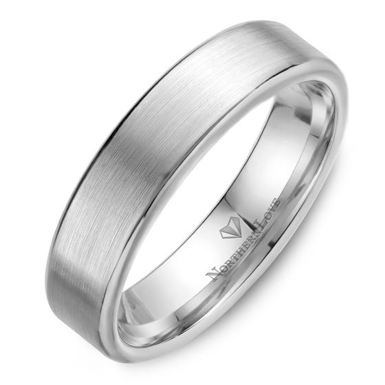 NORTHERN LOVE White Gold 5.5 mm Men's Wedding Band (EA3)