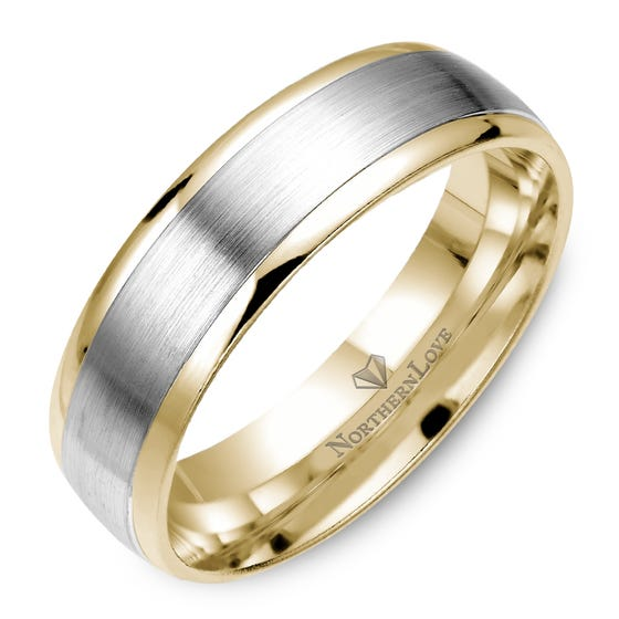 NORTHERN LOVE Yellow and White Gold 6 mm Men's Wedding Band (EA3)