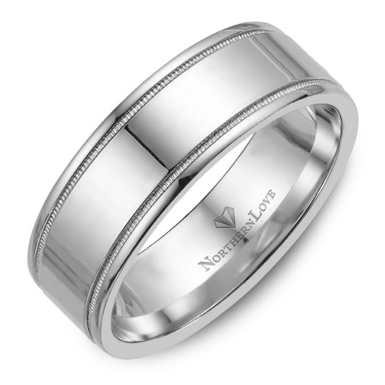 NORTHERN LOVE White Gold 8 mm Men's Wedding Band (EA3)
