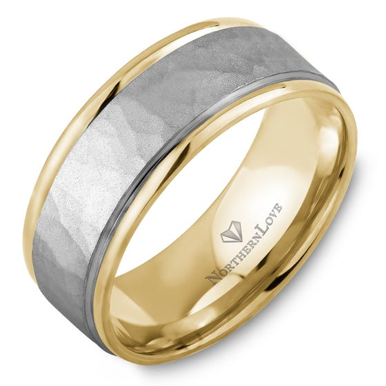 NORTHERN LOVE Yellow and White Gold 8 mm Wedding Band (EA3)