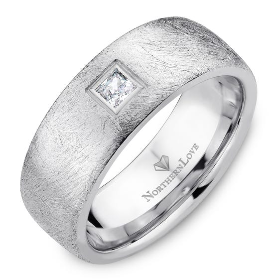 NORTHERN LOVE White Gold 8 mm Men's Diamond Wedding Band Total Carat Weight 0.15ct (EA3)