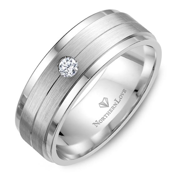 NORTHERN LOVE White Gold 8 mm Men's Diamond Wedding Band Total Carat Weight 0.10ct (EA3)