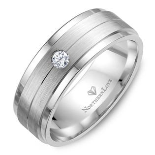 NORTHERN LOVE Platinum 8 mm Men's Diamond Wedding Band Total Carat Weight 0.10ct (EA3)