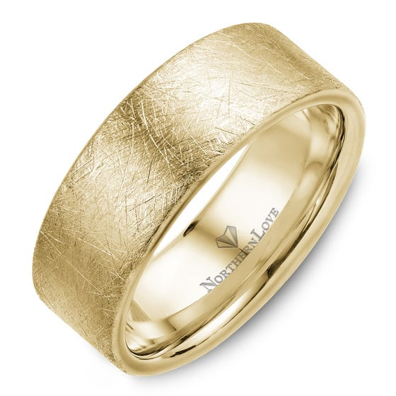 NORTHERN LOVE Yellow Gold 8 mm Men's Wedding Band (EA3)