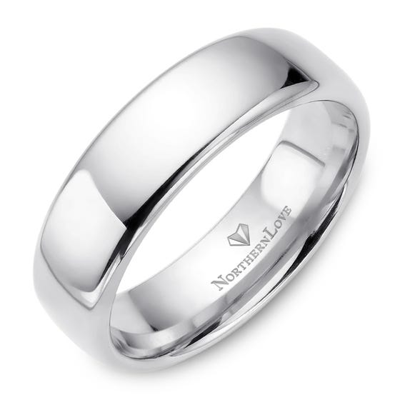 NORTHERN LOVE White Gold 6 mm Men's Wedding Band (EA3)