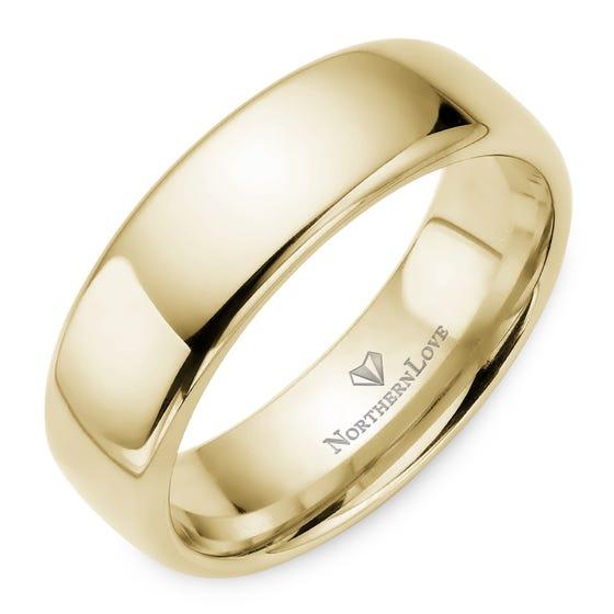 NORTHERN LOVE Yellow Gold 7 mm Men's Wedding Band (EA3)