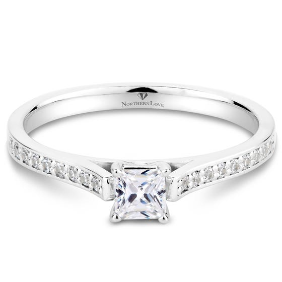 NORTHERN LOVE White Gold Princess Diamond Solitaire Engagement Ring Total Carat Weight 0.41ct (EA3)