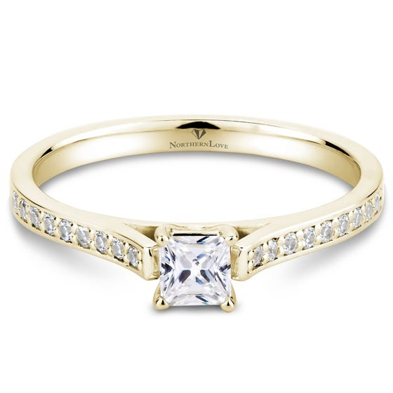 Northern Love Yellow Gold Princess Cut Diamond Engagement Ring Total Carat Weight 0.41ct (EA3)