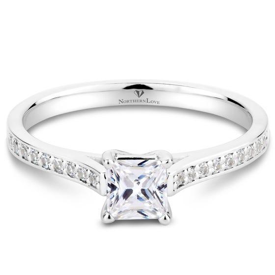 Northern Love Platinum Princess Cut Diamond Engagement Ring Total Carat Weight 0.66ct (EA3)