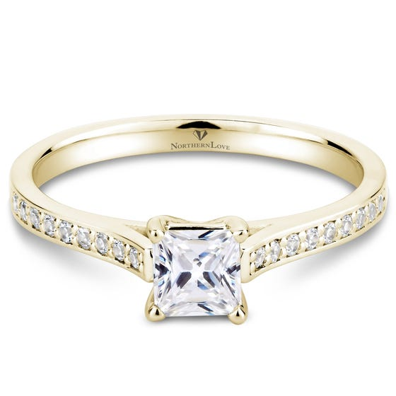 Northern Love Yellow Gold Princess Cut Diamond Engagement Ring Total Carat Weight 0.66ct (EA3)