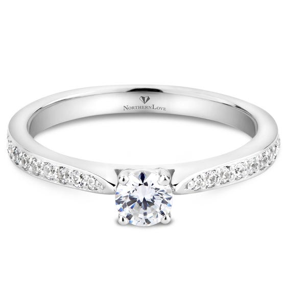 NORTHERN LOVE Bague de fiançailles solitaire 0.25 ct en or 14 K blanc
