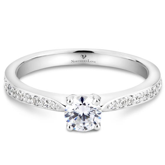 Northern Love White Gold Solitaire Diamond Engagement Ring Total Carat Weight 0.48ct (EA3)