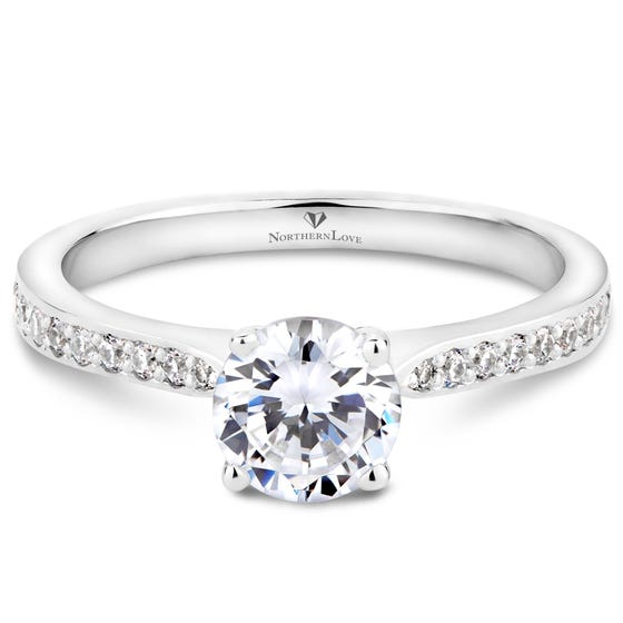 Northern Love White Gold Solitaire Diamond Engagement Ring Total Carat Weight 0.90ct (EA3)