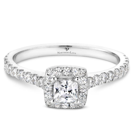 NORTHERN LOVE Platinum Halo Engagement Ring Total Carat Weight 0.61ct (EA3)