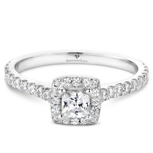 Northern Love Bague de fiançailles avec couronne de diamants en or 14 K blanc coupe princesse 0.25 ct (EA3)
