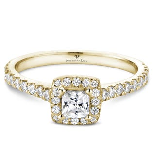 Northern Love Bague de fiançailles avec couronne de diamants en or 14 K jaune coupe princesse 0.25 ct (EA3)