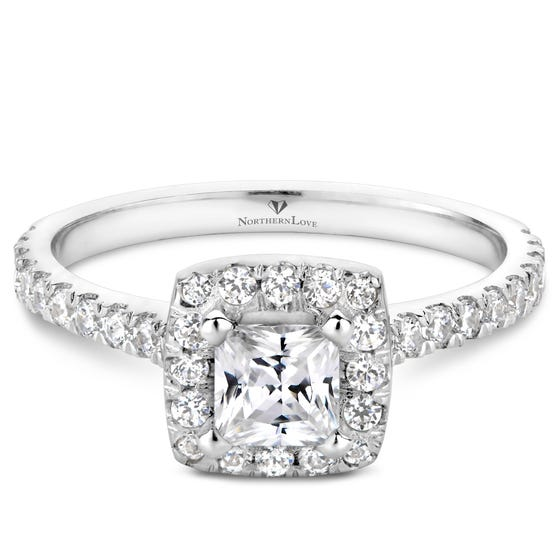NORTHERN LOVE White Gold Total Carat Weight 0.86ct Halo Engagement Ring (EA3)