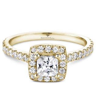 Northern Love Bague de fiançailles avec couronne de diamants en or 14 K jaune coupe princesse 0.50 ct (EA3)