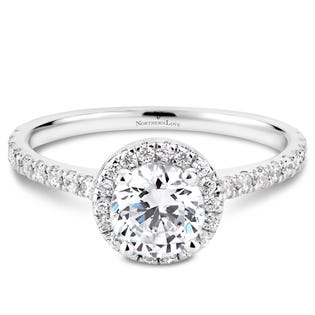 Northern Love Bague de fiançailles avec couronne de diamants en or 14 K blanc 0.75 ct (EA3)