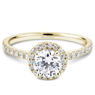 Northern Love Bague de fiançailles avec couronne de diamants en or 14 K jaune 0.75 ct (EA3)