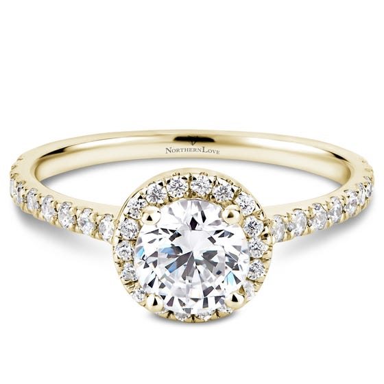 NORTHERN LOVE Yellow Gold 1.14ct Halo Engagement Ring (EA3)
