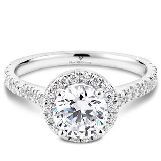 Northern Love Bague de fiançailles avec couronne de diamants en or 14 K blanc 1.00 ct (EA3)