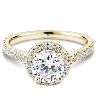 Northern Love Bague de fiançailles avec couronne de diamants en or 14 K jaune 1.00 ct (EA3)