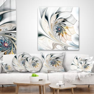 Designart White Stained Glass Floral Art Modern Wall Art Canvas PT10276-30-40 (EA1)