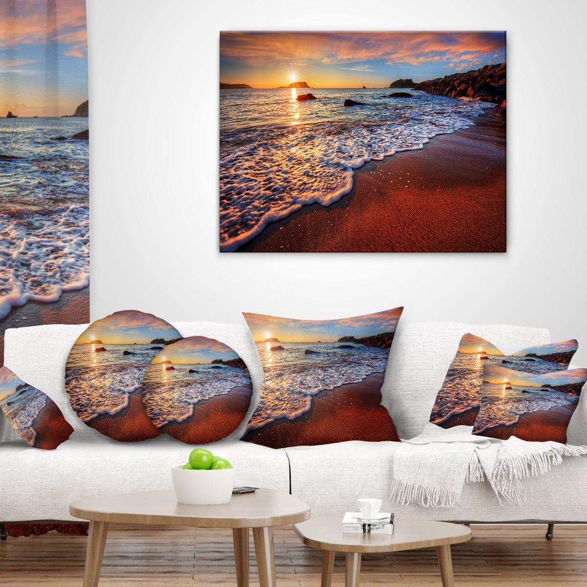 Designart Stunning Ocean Beach at Sunset Canva PT14632-40 ...