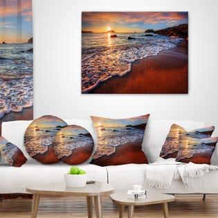 Designart Stunning Ocean Beach at Sunset Canva PT14632-40-30 (EA1)