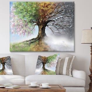 Designart Tree with Four Seasons Large Tree Canvas Art PT9283-40-30 (EA1)