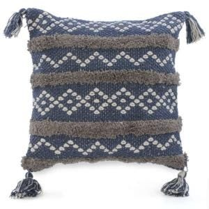 Cushion Blue & Taupe with Tassel
