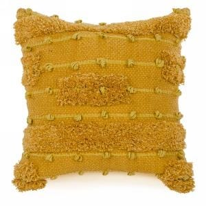 Cushion with Loop Motif Mustard Yellow