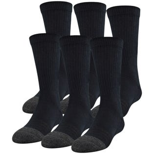 Under Armour Adult Performance Tech Crew Socks 6 Pack Black