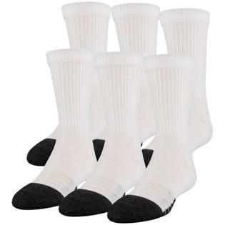 Under Armour Adult Performance Tech Crew Socks 6 Pack White