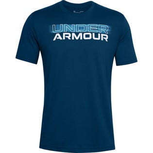 Under Armour Men's Blurry Logo Wordmark Short Sleeve Blue