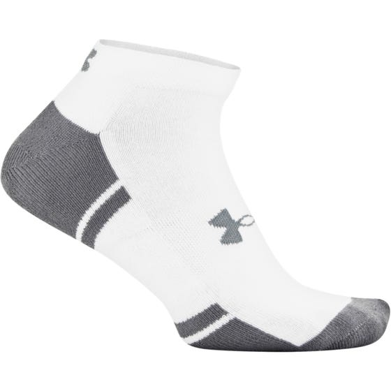 Under Armour Adult Performance Tech Low Cut Socks 6 Pack White