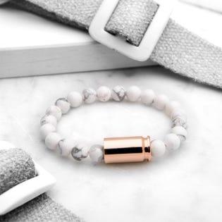 Brass & Unity Warrior Luxury Bracelet Howlite/Rose Gold Medium