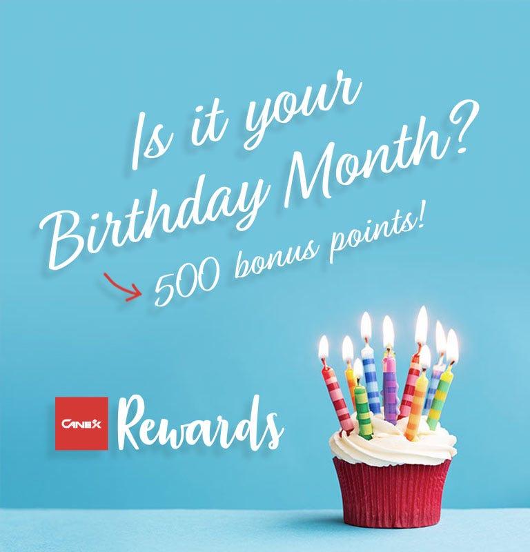 CANEX Rewards 500 Birthday Points