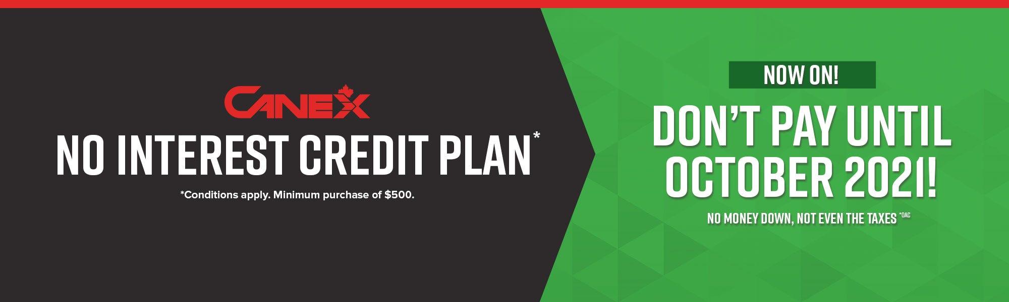No Interest Credit Plan